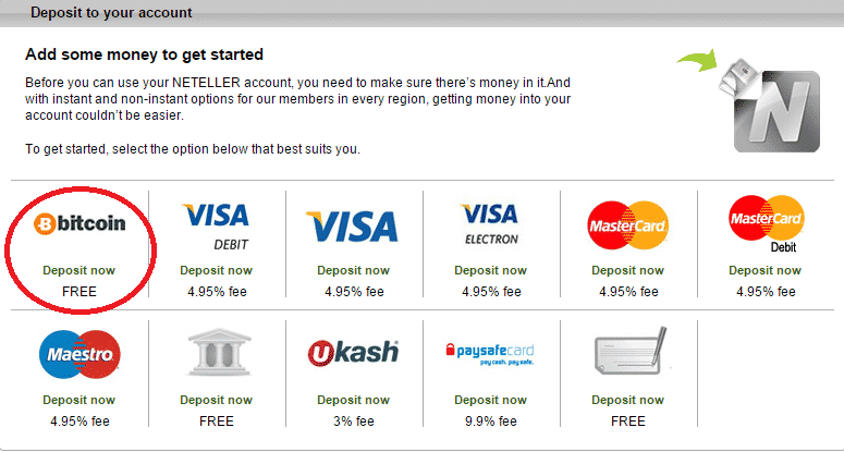 Bitcoin deposit option at Neteller